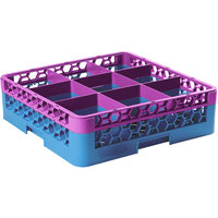 Carlisle RG9-1C414 OptiClean 9 Compartment Lavender Color-Coded Glass Rack with 1 Extender