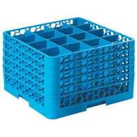 Carlisle RG16-514 OptiClean 16 Compartment Blue Glass Rack with 5 Extenders