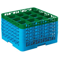 Carlisle RG16-5C413 OptiClean 16 Compartment Green Color-Coded Glass Rack with 5 Extenders