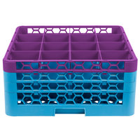 Carlisle RG16-3C414 OptiClean 16 Compartment Lavender Color-Coded Glass Rack with 3 Extenders