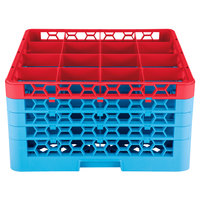 Carlisle RG16-4C410 OptiClean 16 Compartment Red Color-Coded Glass Rack with 4 Extenders