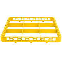 Carlisle RE9C04 OptiClean 9 Compartment Yellow Color-Coded Glass Rack Extender