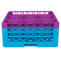 Carlisle RG9-3C414 OptiClean 9 Compartment Lavender Color-Coded Glass Rack with 3 Extenders