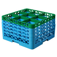 Carlisle RG9-5C413 OptiClean 9 Compartment Green Color-Coded Glass Rack with 5 Extenders