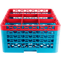 Carlisle RG9-4C410 OptiClean 9 Compartment Red Color-Coded Glass Rack with 4 Extenders