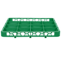 Carlisle RE16C09 OptiClean 16 Compartment Green Color-Coded Glass Rack Extender