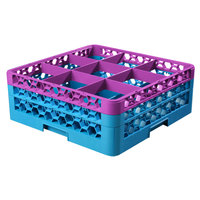 Carlisle RG9-2C414 OptiClean 9 Compartment Lavender Color-Coded Glass Rack with 2 Extenders