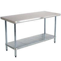 Regency 18 Gauge 30 inch x 72 inch 304 Stainless Steel Commercial Work Table with Undershelf
