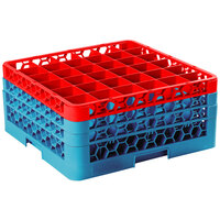 Carlisle RG36-3C410 OptiClean 36 Compartment Red Color-Coded Glass Rack with 3 Extenders