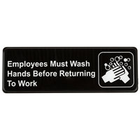 Employees Must Wash Hands Before Returning to Work Sign - Black and White, 9 inch x 3 inch