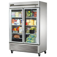 True TS-49G-LD 54 inch Stainless Steel Two Section Glass Door Reach In Refrigerator with LED Lighting - 43.5 Cu. Ft.