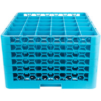 Carlisle RG36-514 OptiClean 36 Compartment Blue Glass Rack with 5 Extenders