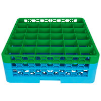 Carlisle RG36-2C413 OptiClean 36 Compartment Green Color-Coded Glass Rack with 2 Extenders