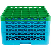Carlisle RG25-5C413 OptiClean 25 Compartment Green Color-Coded Glass Rack with 5 Extenders