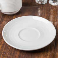 Tuxton FPE-056 Pacifica 5 3/4 inch Bright White Embossed China Saucer - 36/Case