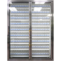 Styleline CL3072-HH 20//20 Plus 30 inch x 72 inch Walk-In Cooler Merchandiser Doors with Shelving - Anodized Bright Silver, Right Hinge - 2/Set