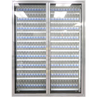 Styleline CL3072-HH 20//20 Plus 30 inch x 72 inch Walk-In Cooler Merchandiser Doors with Shelving - Anodized Satin Silver, Right Hinge - 2/Set