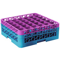 Carlisle RG36-2C414 OptiClean 36 Compartment Lavender Color-Coded Glass Rack with 2 Extenders