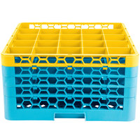 Carlisle RG25-4C411 OptiClean 25 Compartment Yellow Color-Coded Glass Rack with 4 Extenders