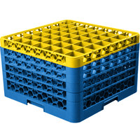 Carlisle RG49-5C411 OptiClean 49 Compartment Yellow Color-Coded Glass Rack with 5 Extenders