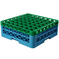 Carlisle RG49-2C413 OptiClean 49 Compartment Green Color-Coded Glass Rack with 2 Extenders