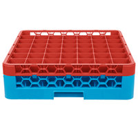 Carlisle RG49-1C410 OptiClean 49 Compartment Red Color-Coded Glass Rack with 1 Extender