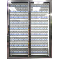 Styleline CL2472-LT Classic Plus 24 inch x 72 inch Walk-In Freezer Merchandiser Doors with Shelving - Anodized Bright Silver, Right Hinge - 2/Set