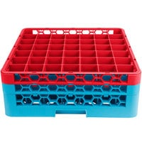 Carlisle RG49-2C410 OptiClean 49 Compartment Red Color-Coded Glass Rack with 2 Extenders