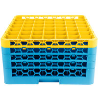 Carlisle RG49-4C411 OptiClean 49 Compartment Yellow Color-Coded Glass Rack with 4 Extenders
