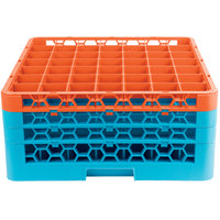 Carlisle RG49-3C412 OptiClean 49 Compartment Orange Color-Coded Glass Rack with 3 Extenders