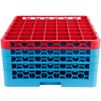 Carlisle RG49-4C410 OptiClean 49 Compartment Red Color-Coded Glass Rack with 4 Extenders