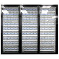 Styleline CL2672-LT Classic Plus 26 inch x 72 inch Walk-In Freezer Merchandiser Doors with Shelving - Satin Black, Right Hinge - 3/Set