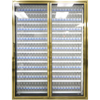Styleline CL2672-LT Classic Plus 26 inch x 72 inch Walk-In Freezer Merchandiser Doors with Shelving - Anodized Bright Gold, Right Hinge - 2/Set
