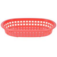 Tablecraft 1073R 9 1/4 inch x 6 inch x 1 1/2 inch A La Carte Red Plastic Oval Fast Food Basket - 12/Case