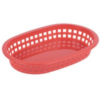 Tablecraft 1073R 9 1/4 inch x 6 inch x 1 1/2 inch A La Carte Red Plastic Oval Fast Food Basket   - 12/Case