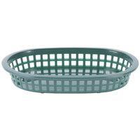 Tablecraft 1073FG 9 1/4 inch x 6 inch x 1 1/2 inch A La Carte Forest Green Plastic Oval Fast Food Basket - 12/Case