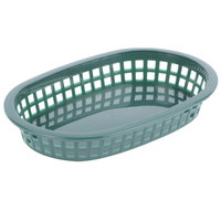 Tablecraft 1073FG 9 1/4 inch x 6 inch x 1 1/2 inch A La Carte Forest Green Plastic Oval Fast Food Basket - 12/Case