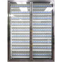 Styleline CL2672-LT Classic Plus 26 inch x 72 inch Walk-In Freezer Merchandiser Doors with Shelving - Anodized Bright Silver, Left Hinge - 2/Set