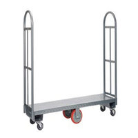Winholt 300-48D / PU U-Boat 16 inch x 51 inch Heavy Duty Utility Cart with Diamond Steel Deck - 2000 lb. Capacity