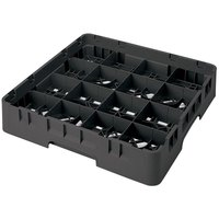 Cambro 16S418110 Camrack 4 1/2 inch High Customizable Black 16 Compartment Glass Rack