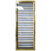Styleline CL3072-LT Classic Plus 30 inch x 72 inch Walk-In Freezer Merchandiser Door with Shelving - Anodized Bright Gold, Right Hinge