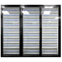 Styleline CL3072-LT Classic Plus 30 inch x 72 inch Walk-In Freezer Merchandiser Doors with Shelving - Satin Black, Right Hinge - 3/Set