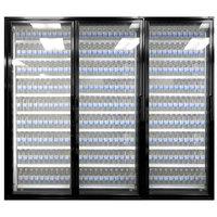 Styleline CL3072-LT Classic Plus 30 inch x 72 inch Walk-In Freezer Merchandiser Doors with Shelving - Satin Black, Left Hinge - 3/Set
