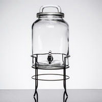 1.5 Gallon Style Setter Savannah Glass Beverage Dispenser with Metal Stand