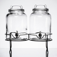 Double 1.5 Gallon Style Setter Savannah Glass Beverage Dispenser with Metal Stand