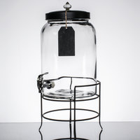 3 Gallon Style Setter Franklin Glass Beverage Dispenser with Metal Stand