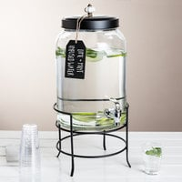 The Jay Companies 210235-GB 3 Gallon Style Setter Franklin Glass Beverage Dispenser with Metal Stand