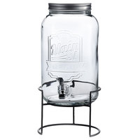 2 Gallon Style Setter Main Street Embossed Glass Beverage Dispenser with Metal Stand