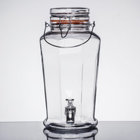 1 Gallon Style Setter Auburn Glass Beverage Dispenser with Metal Handle