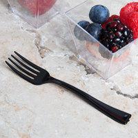 Visions 3 7/8 inch Black Plastic Tasting Fork - 50/Pack